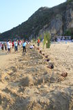 Sand event on the beach. PRANBURI, THAILAND - FEB 14:valentine event on the beach on Feb 14, 2014 in Khao Ka Lok, Pranburi, Thailand.Event name is Pranburi love stock photos