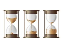 Sand falling in the hourglass. Sand falling in the hourglass in three different states vector illustration