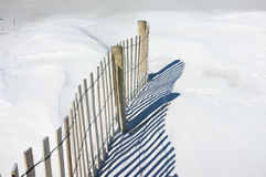 Sand Fence and Dunes Landscape Stock Photos