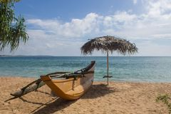 Sand and fishing boats on the beach. Royalty Free Stock Photography