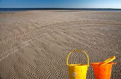 Sand flats along shore of Lake Winnipeg Stock Photography