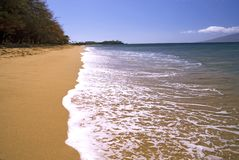 Sand and foam. Empty stretch of island beach in Hawaii with blue sky and sandy beach Royalty Free Stock Photography