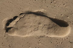 Sand footprint Stock Images