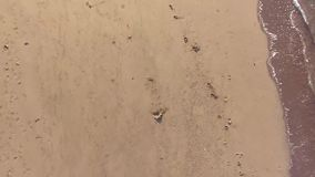 Sand footprints on white sandy beach. aerial. Ascending shot stock footage