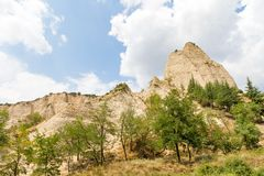 Sand formation. Landscape of sand pyramid formation in Melnik, Bulgaria Stock Photography
