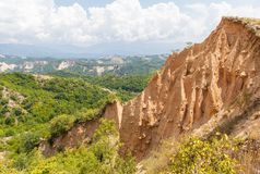 Sand formation. Landscape of sand pyramid formation in Melnik, Bulgaria Royalty Free Stock Image