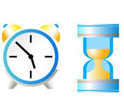 Sand-glass and clock. On the white Royalty Free Stock Photos