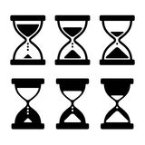 Sand Glass Clock Icons Set. Vector. Illustration Stock Images