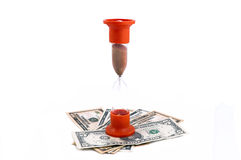 Sand glass and money closeup concept money or time Stock Photo