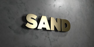 Sand - Gold sign mounted on glossy marble wall  - 3D rendered royalty free stock illustration Stock Photography
