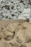 Sand and granite for construction Stock Photos
