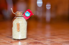 Sand from Greece  in a jar Royalty Free Stock Images