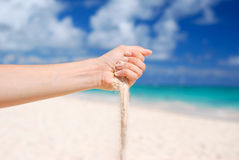 Sand in hand Royalty Free Stock Photography