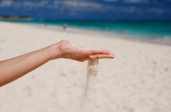 Sand in hand Stock Photography