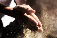 Sand on Hands Royalty Free Stock Photography