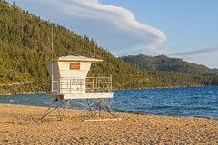 Sand Harbor Life Guard Station At Sunset Stock Photography
