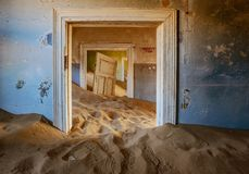 Sand has invaded and taken over these rooms in Kolmanskoppe. Namibia stock photos