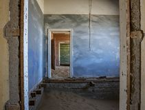 Sand has invaded and taken over these rooms in Kolmanskoppe. Namibia royalty free stock photos