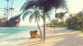 Sand, hav, himmel, moln, palmträd och sommardag Piratkopiera ön, bröstkorg av guld och att piratkopiera flaggan som fladdrar i vi lager videofilmer