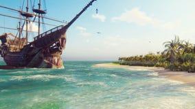 Sand, hav, skepp, himmel, moln, palmträd och sommardag Piratkopiera ön, bröstkorg av guld och att piratkopiera flaggan som fladdr arkivfilmer