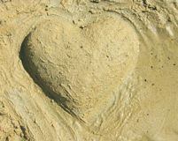 Sand heart. This is a card for St. Valentine's Day with sand heart Royalty Free Stock Photo