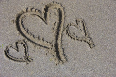 Sand Hearts. Hearts scribed in sand on a summer day Stock Photography