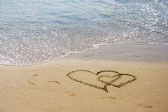 Sand hearts couple at the beach Royalty Free Stock Image