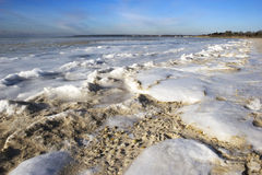 Sand and Ice. Low wide angle view of sand and Ice. Beach scene of the Peconic Bay frozen over, Long Island, New York Stock Image