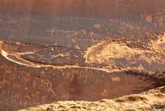 Sand-Insel-Petroglyphen Stockfotos