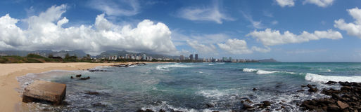 Sand Island Beach Park Panoramic, Oahu, Hawaii stock photography
