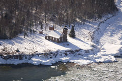Sand Island lighthouse. Aerial view of Sand Island lighthouse in winter Stock Image