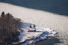 Sand Island lighthouse. Aerial view of Sand Island lighthouse in winter stock photos
