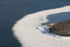 Sand Island lighthouse. Aerial view of Sand Island light house in winter, apostle islands wisconsin Stock Photos