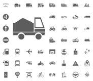 Sand-LKW-Ikone Gesetzte Ikonen des Transportes und der Logistik Gesetzte Ikonen des Transportes Stockfotos