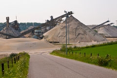Sand mining. Site with acces road Royalty Free Stock Image