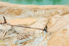 Sand mining activity Royalty Free Stock Image