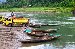 SAND MINING IN INDONESIA Stock Images