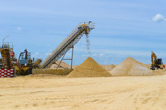Sand mining. Landscape style imge Royalty Free Stock Images