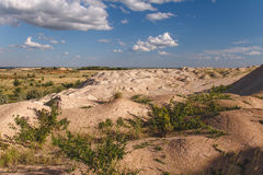Sand mound. From the quarry, artificial desert Stock Photos