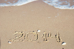 Sand number 2014 on beach Royalty Free Stock Photography