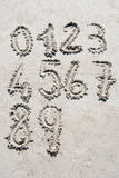Sand numbers Stock Images