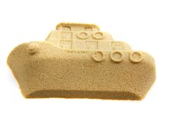 Sand object boat isolated. Sand objects boat isolated on the white background royalty free stock photos
