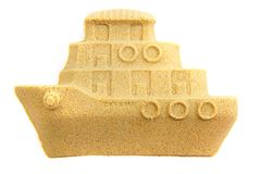 Sand object boat isolated. Sand objects boat isolated on the white background stock images