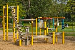 Sand- och vattenlekplats i park Arkivfoto