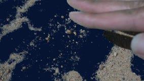 Sand på en grön sand för skärmhandlokalvård från stämd bakgrund, med den alfabetiska kanalen, för intro, övergång stock video
