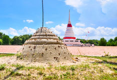 Sand pagoda. With the pagoda behind in Thai temple Royalty Free Stock Images