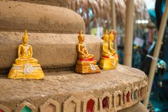Sand pagoda with Buddha statues. That people has create in Songkran Festival at Thailand Stock Images