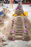 Sand pagoda ceremony, Cultural activities including sand sculptu. Sand  pagoda ceremony, Cultural activities including sand sculpture for Songkran festival Royalty Free Stock Photos
