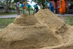 Sand pagoda that people has create in Songkran Festival at Thail. And Stock Image