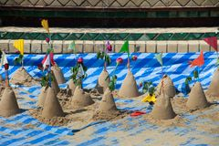 Sand Pagoda for return the sand to the temple in tradition Songkran festival. Sand Pagoda for return the sand to the temple in tradition Songkran Festival or royalty free stock images
